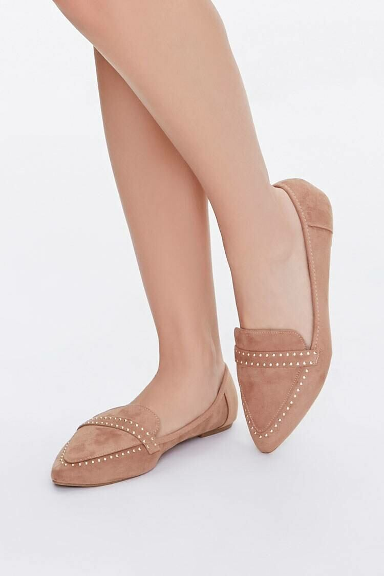 Forever 21 Brown Faux Suede Studded Loafers WOMEN Women SHOES Womens FLAT SHOES