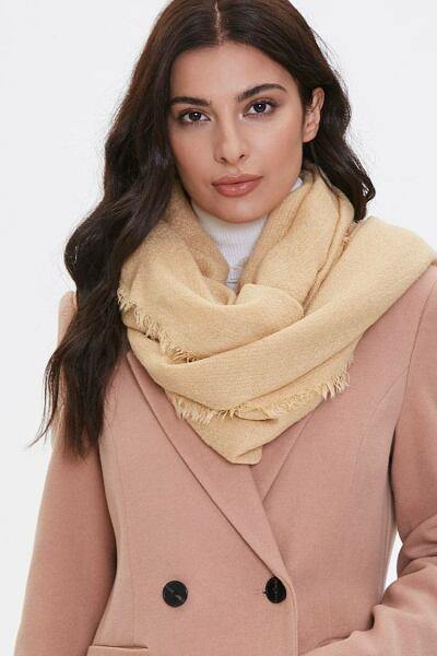 Forever 21 Brown Frayed Oblong Scarf WOMEN Women ACCESSORIES Womens SCARFS