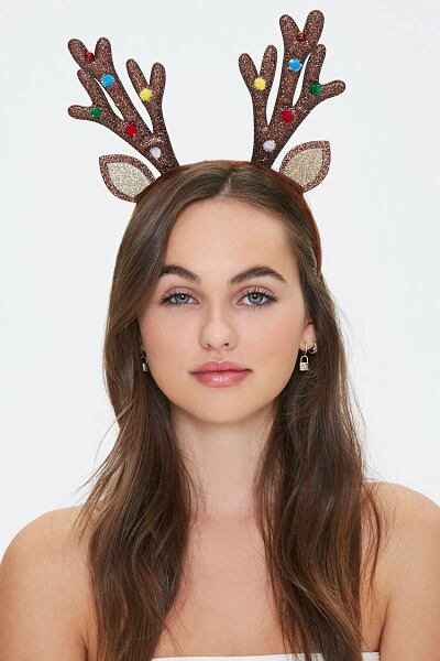 Forever 21 Brown Glitter Antler Headband WOMEN Women ACCESSORIES Womens HATS