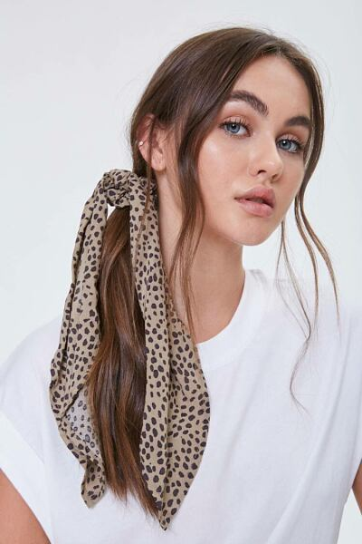 Forever 21 Brown/Black Cheetah Print Bow Scrunchie WOMEN Women ACCESSORIES Womens HATS