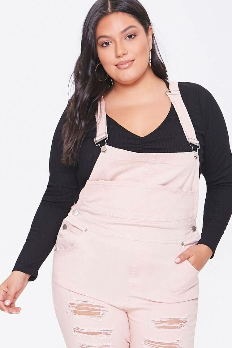 Forever 21 Dustypink Plus Size Distressed Overalls WOMEN Women FASHION Womens OVERALLS