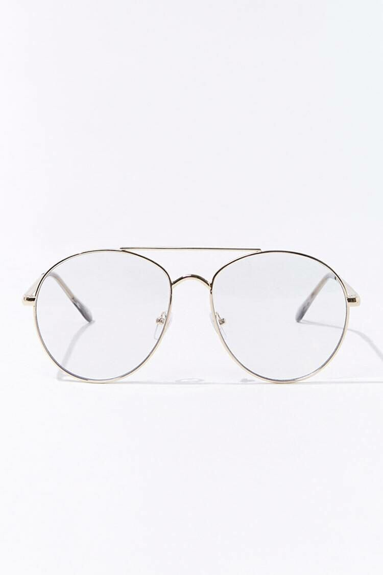 Forever 21 Gold/Clear Round Metal Reader Glasses WOMEN Women ACCESSORIES Womens SUNGLASSES