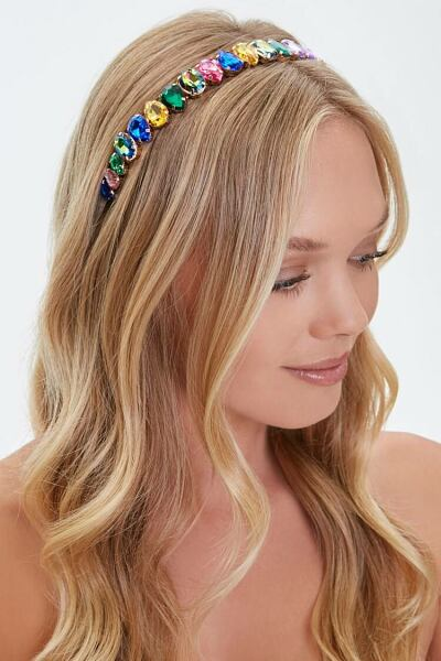 Forever 21 Gold/Multi Faux Gem Headband WOMEN Women ACCESSORIES Womens HATS