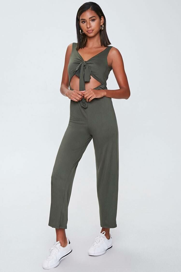 Forever 21 Green Knotted Cutout Jumpsuit WOMEN Women FASHION Womens JUMPSUITS