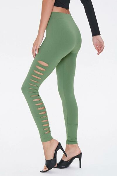 Forever 21 Green Ladder Cutout Leggings WOMEN Women FASHION Womens LEGGINGS