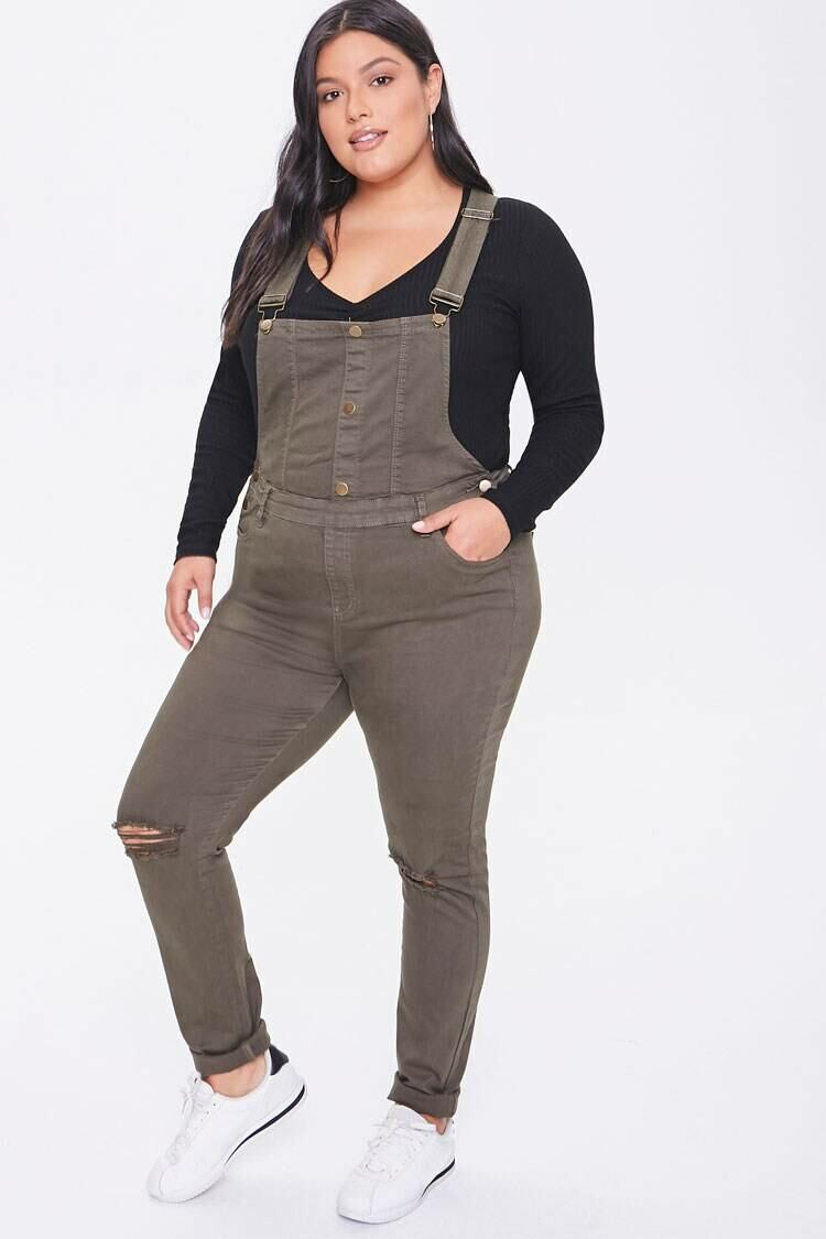 Forever 21 Green Plus Size Square-Neck Overalls WOMEN Women FASHION Womens OVERALLS