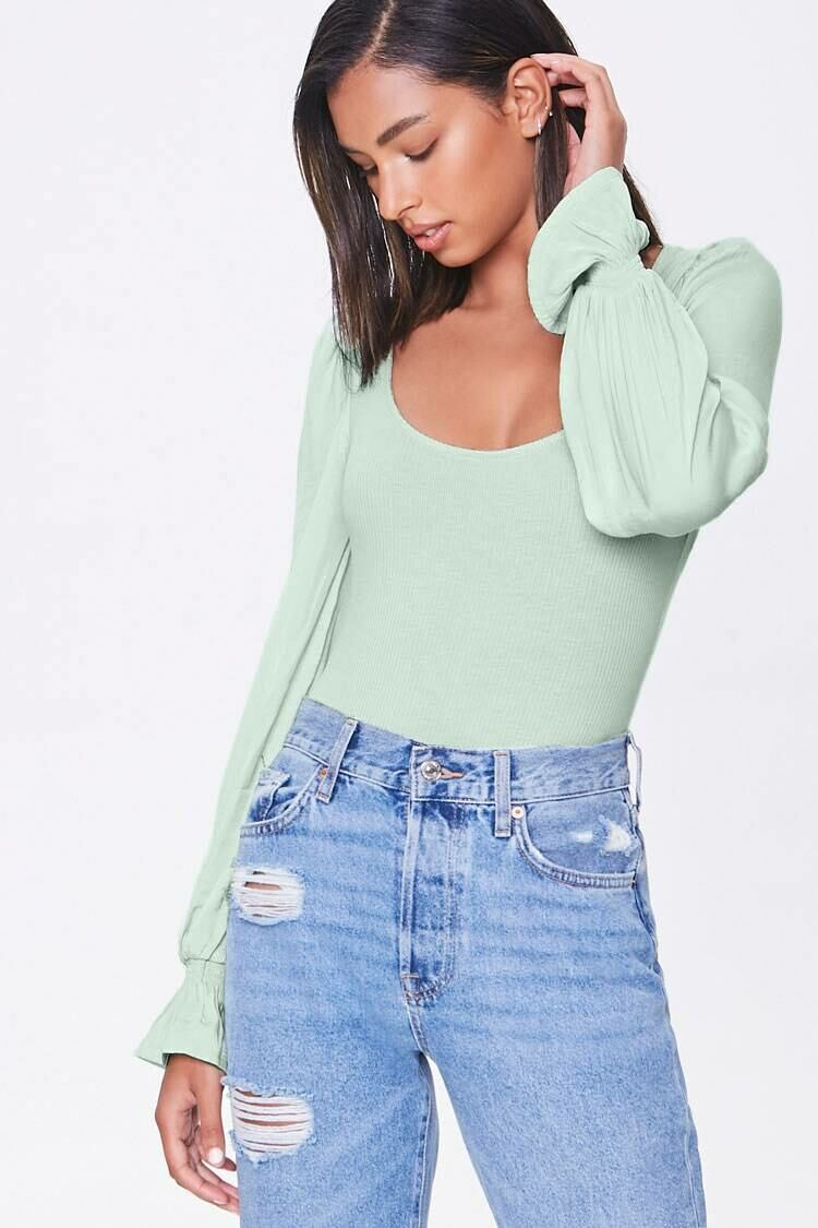 Forever 21 Green Ribbed Peasant-Sleeve Bodysuit WOMEN Women FASHION Womens JUMPSUITS