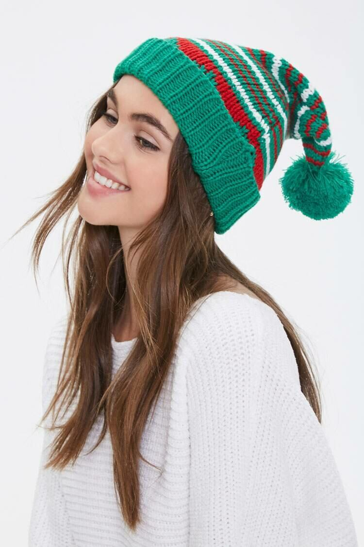Forever 21 Green/Multi Striped Ribbed Beanie WOMEN Women ACCESSORIES Womens HATS