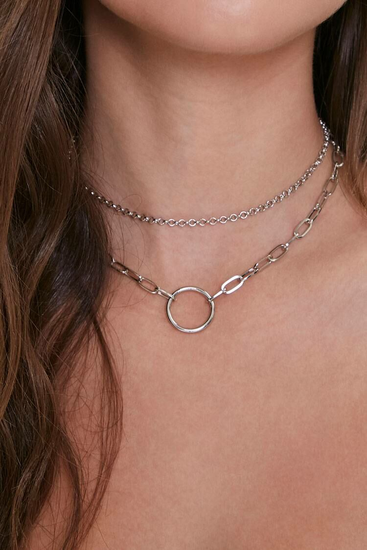 Forever 21 Grey Circle Pendant Layered Necklace WOMEN Women ACCESSORIES Womens JEWELRY