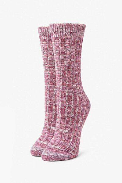 Forever 21 Magenta/Multi Marled Knit Crew Socks WOMEN Women ACCESSORIES Womens SOCKS