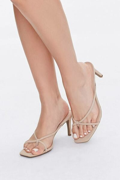 Forever 21 Nude Caged Slip-On Heels WOMEN Women SHOES Womens HIGH HEELS