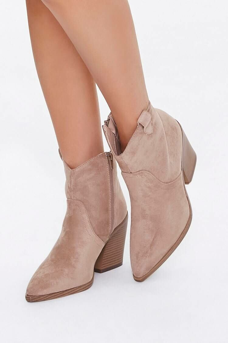 Forever 21 Nude Faux Suede Pull-Tab Booties WOMEN Women SHOES Womens ANKLE BOOTS