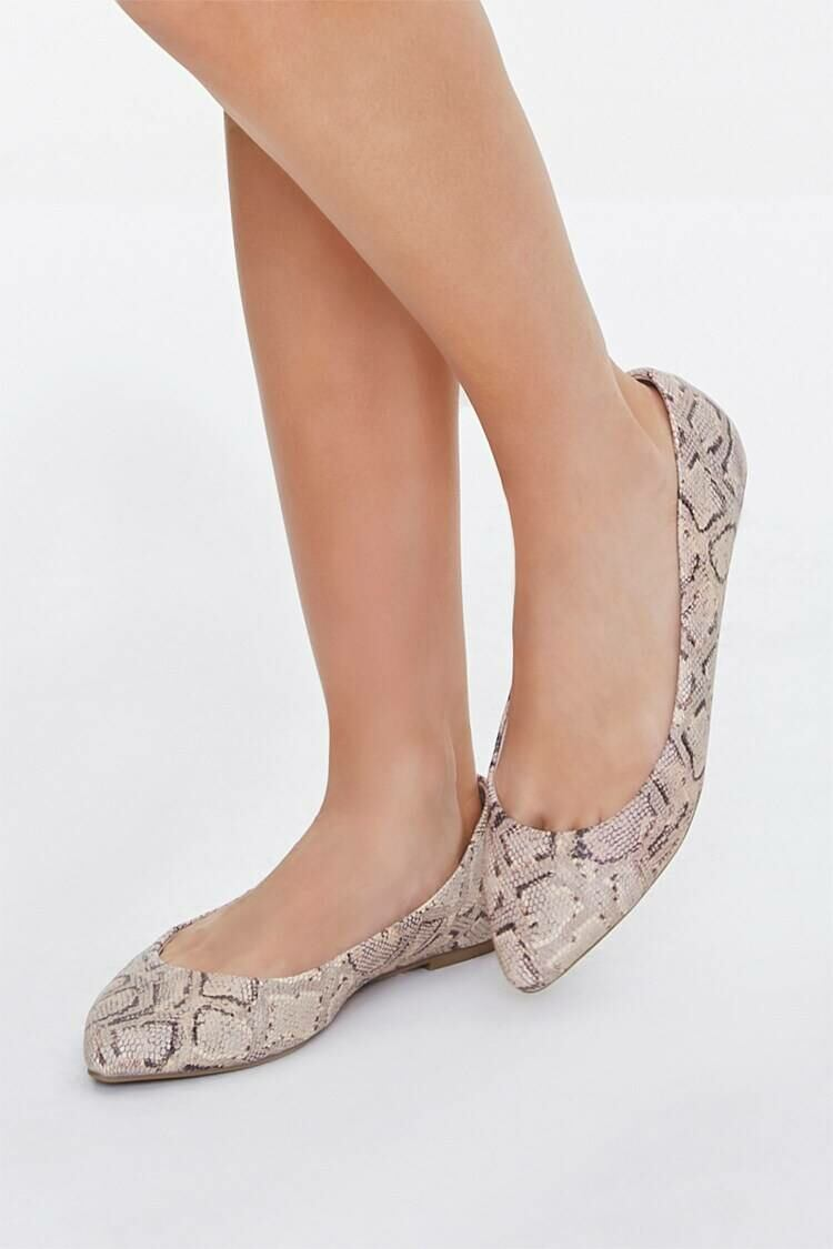 Forever 21 Nude/Multi Pointed Faux Snakeskin Flats WOMEN Women SHOES Womens FLAT SHOES