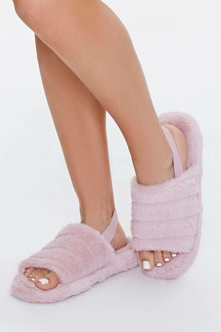 Forever 21 Pink Faux Fur Open-Toe Indoor Slippers WOMEN Women SHOES Womens SLIPPERS