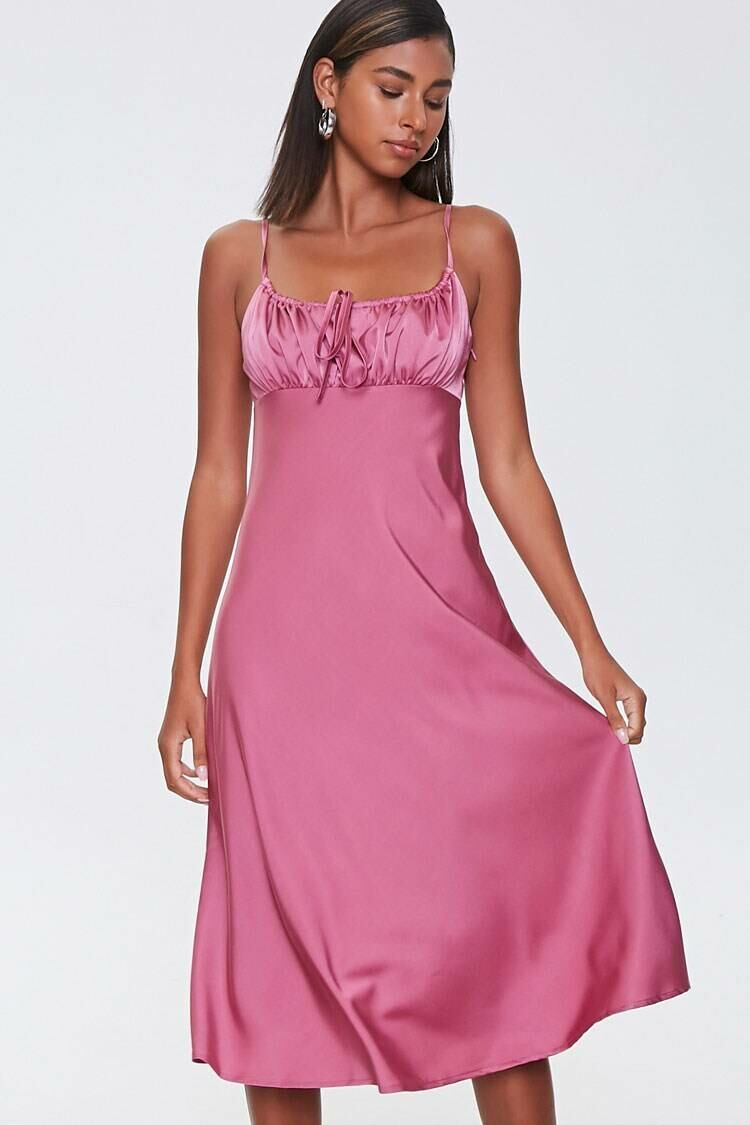 Forever 21 Pink Ruched Satin Dress WOMEN Women FASHION Womens DRESSES