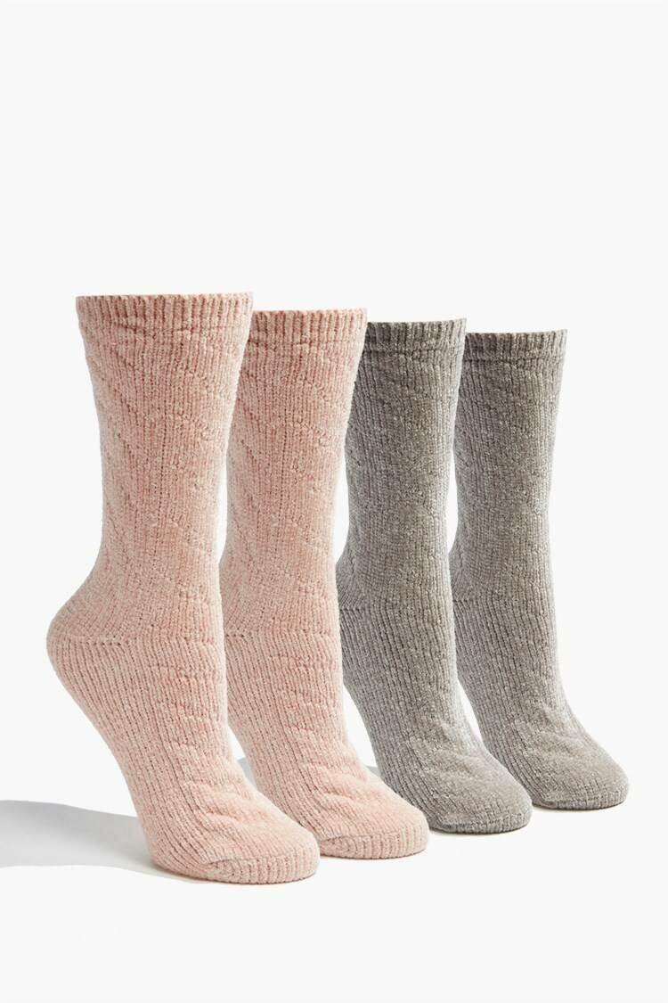 Forever 21 Pink/Grey Cable Knit Crew Socks Set WOMEN Women ACCESSORIES Womens SOCKS
