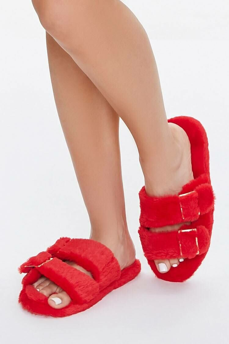 Forever 21 Red Faux Fur Dual-Strap Slippers WOMEN Women SHOES Womens SLIPPERS