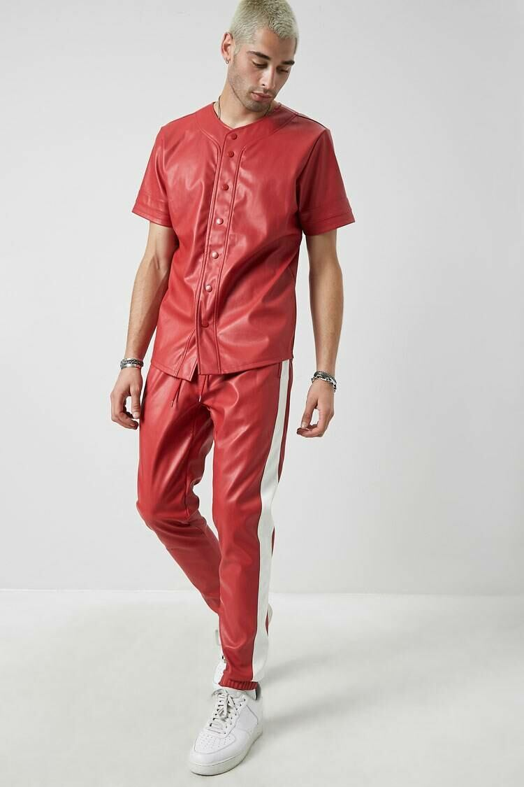 Forever 21 Red Faux Leather Striped-Trim Pants MEN Men FASHION Mens TROUSERS