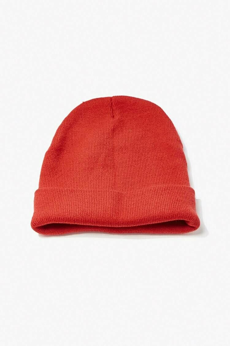 Forever 21 Red Foldover Knit Beanie MEN Men ACCESSORIES Mens HATS