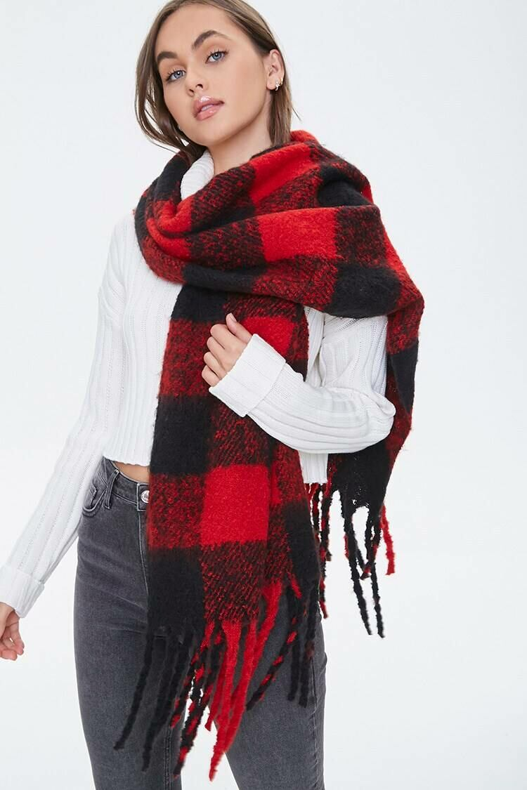Forever 21 Red/Black Frayed Plaid Oblong Scarf WOMEN Women ACCESSORIES Womens SCARFS