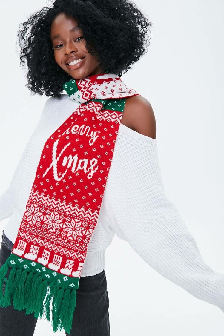 Forever 21 Red/Multi Merry Xmas Fair Isle Scarf WOMEN Women ACCESSORIES Womens SCARFS