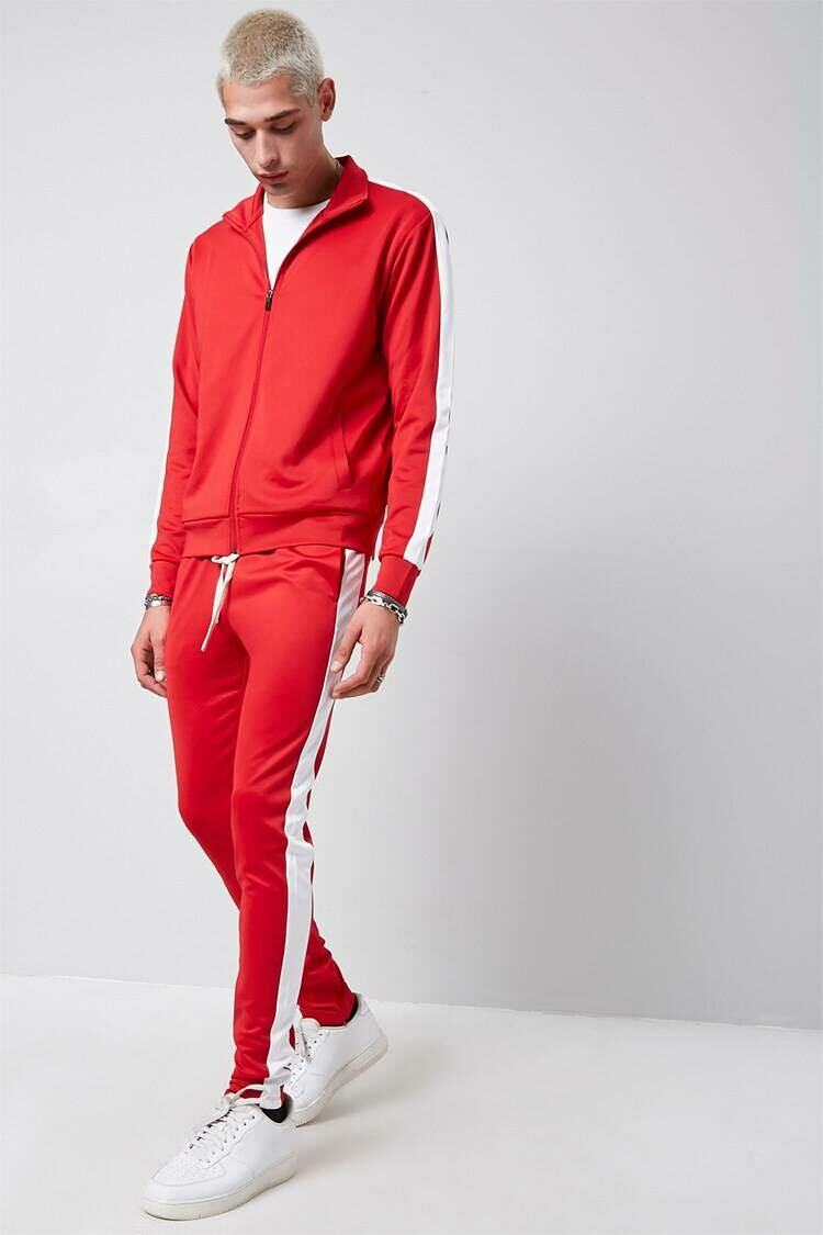 Forever 21 Red/White Ankle-Zip Side-Striped Sweatpants MEN Men FASHION Mens TROUSERS