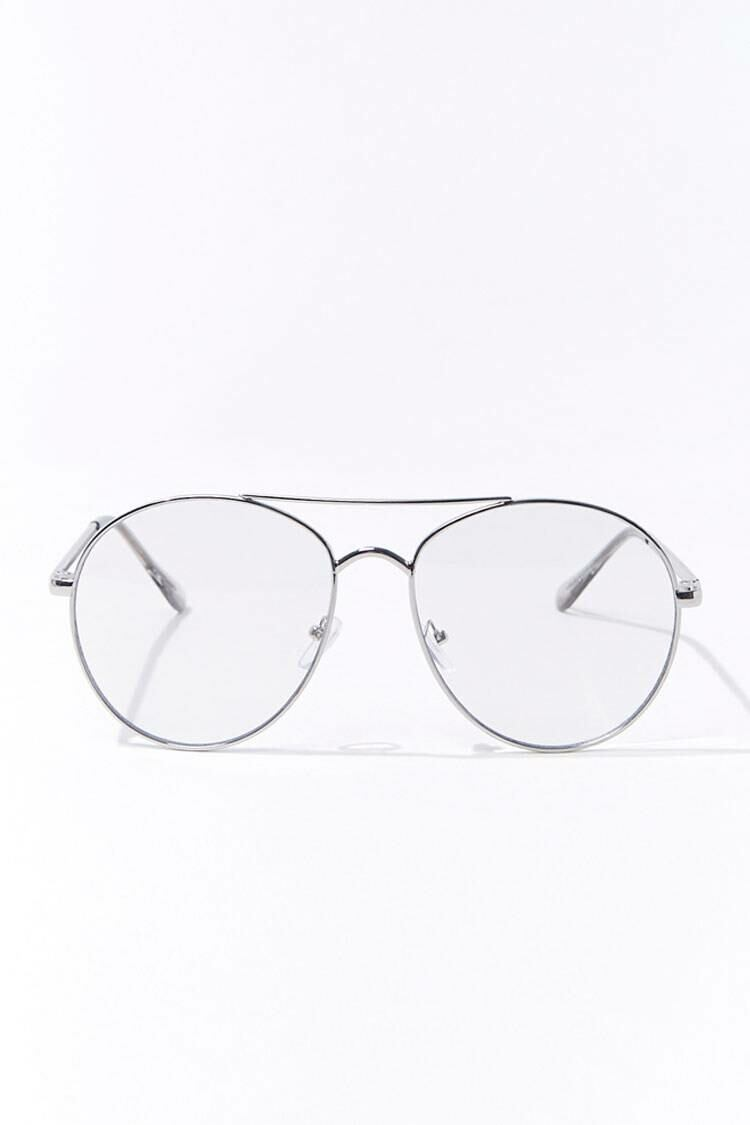 Forever 21 Silver/Clear Round Metal Reader Glasses WOMEN Women ACCESSORIES Womens SUNGLASSES