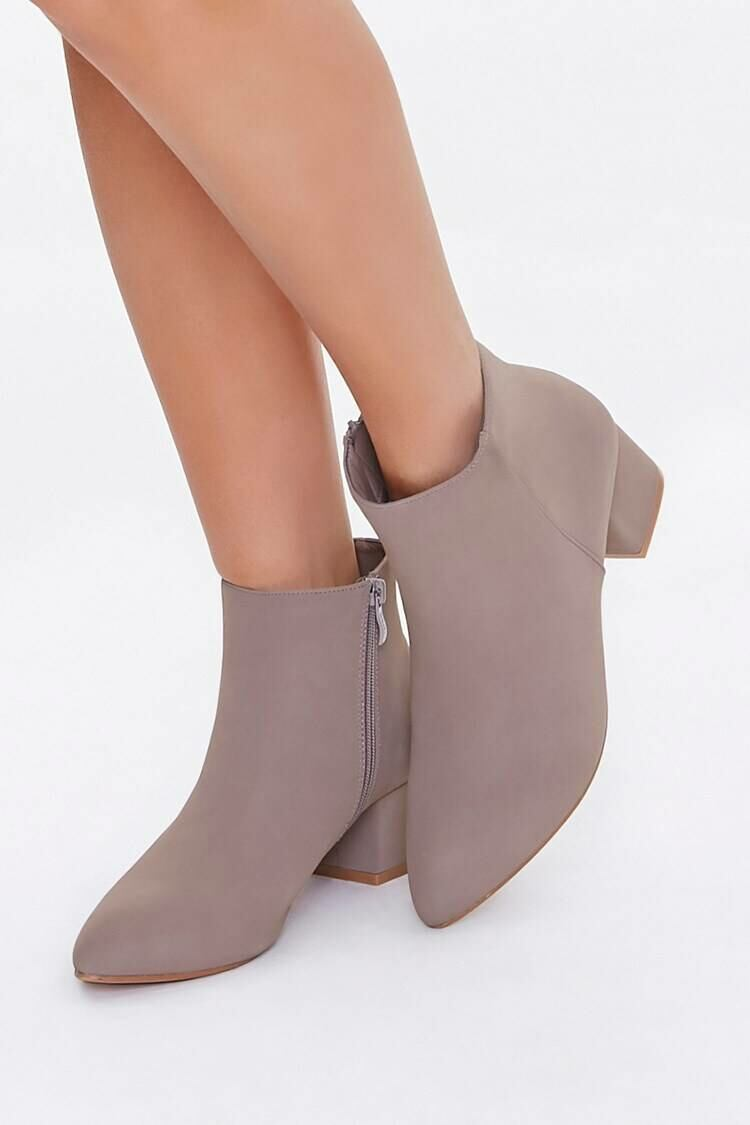 Forever 21 Taupe Faux Suede Block Heel Booties WOMEN Women SHOES Womens ANKLE BOOTS