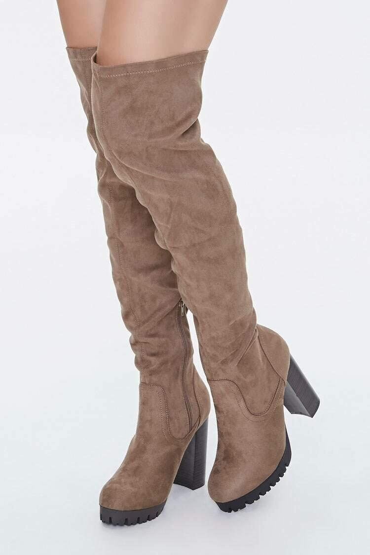 Forever 21 Taupe Faux Suede Over-the-Knee Boots WOMEN Women SHOES Womens BOOTS