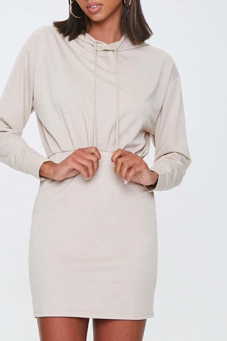 Forever 21 Taupe French Terry Hoodie Dress WOMEN Women FASHION Womens DRESSES