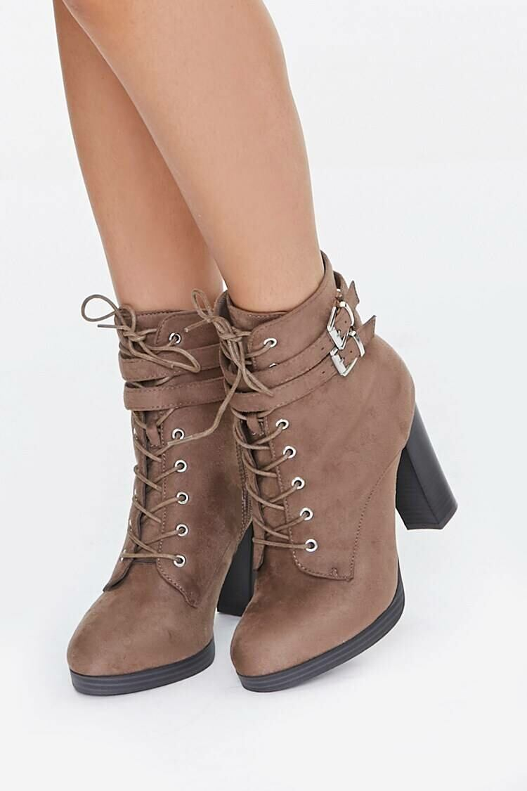 Forever 21 Taupe Lace-Up Chunky Booties WOMEN Women SHOES Womens ANKLE BOOTS