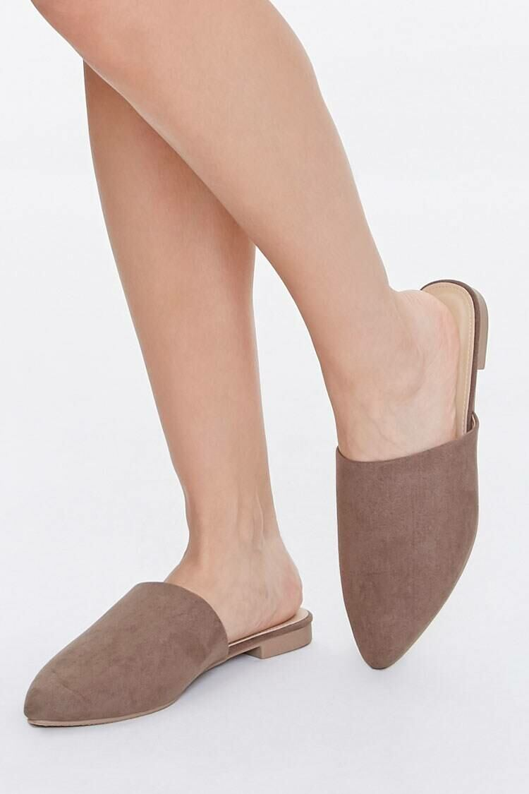 Forever 21 Taupe Pointed Toe Mules WOMEN Women SHOES Womens SLIPPERS