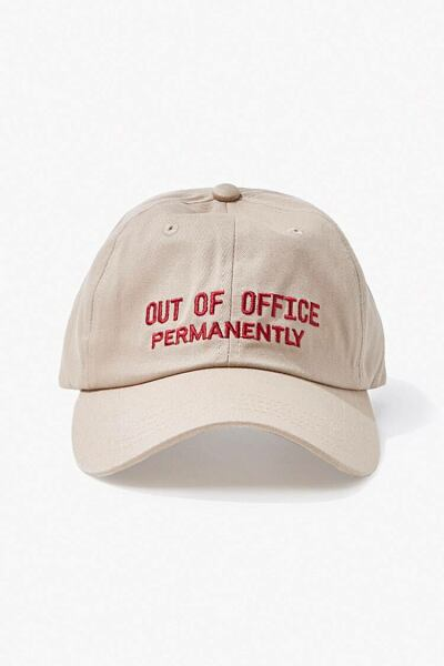 Forever 21 Taupe/Red Out of Office Dad Cap MEN Men ACCESSORIES Mens CAPS