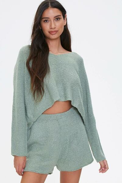 Forever 21 Teal Boucle Knit Sweater & Shorts Set WOMEN Women FASHION Womens SWEATERS