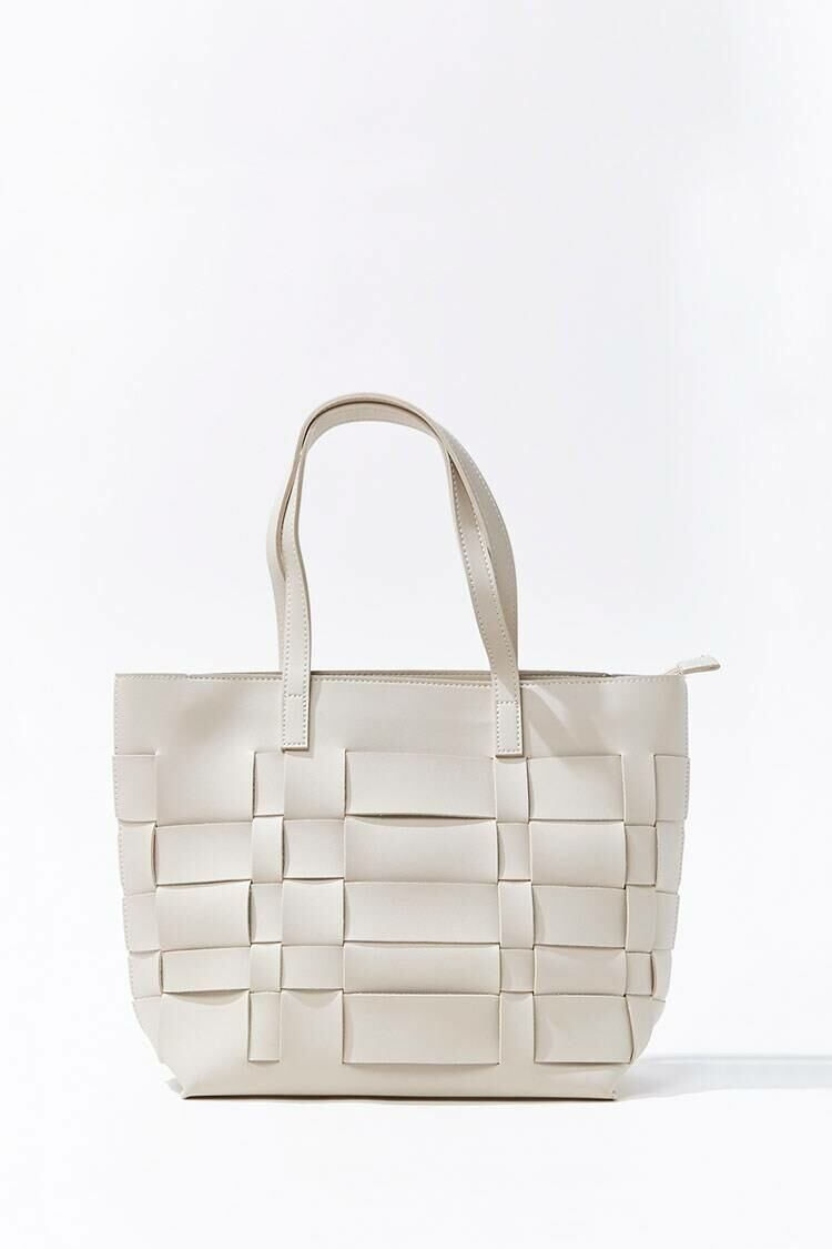 Forever 21 White Basketwoven Tote Bag WOMEN Women ACCESSORIES Womens BAGS