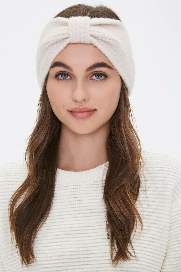 Forever 21 White Brushed Knit Gathered Headwrap WOMEN Women ACCESSORIES Womens HATS