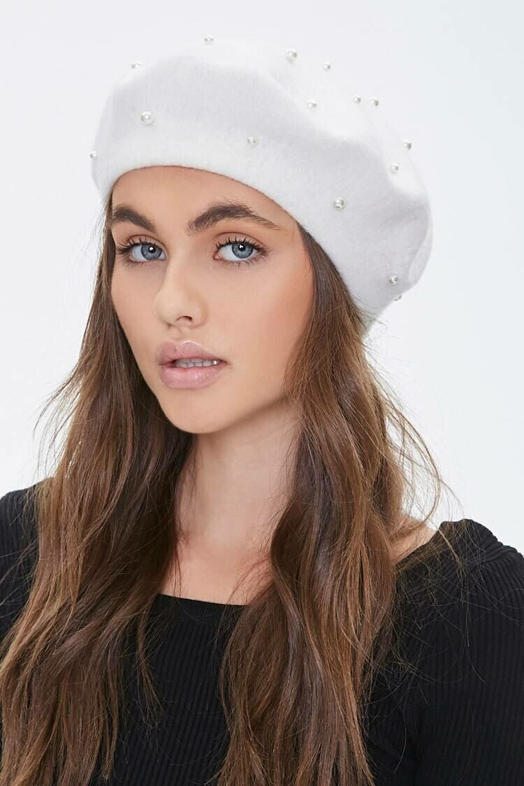 Forever 21 White Faux Pearl Beret WOMEN Women ACCESSORIES Womens HATS