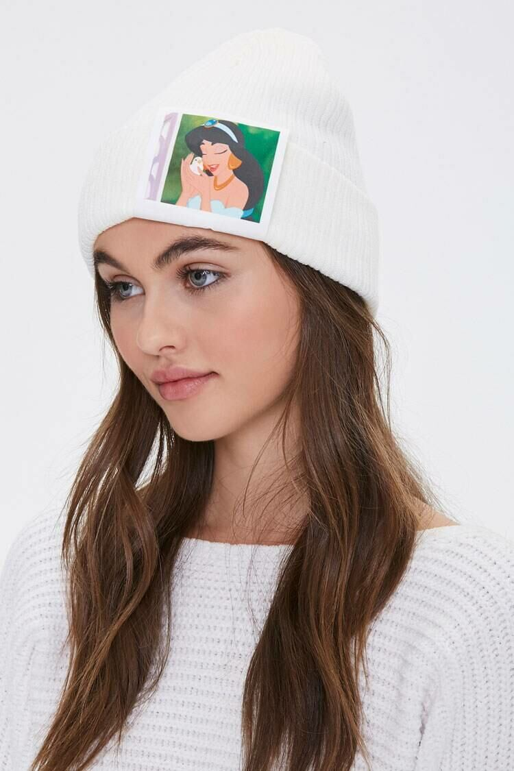 Forever 21 White Jasmine Graphic Ribbed Beanie WOMEN Women ACCESSORIES Womens HATS