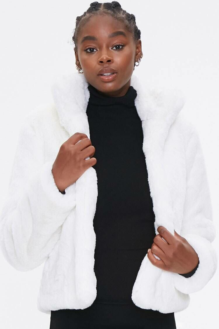 Forever 21 White Plush Faux Fur Coat WOMEN Women FASHION Womens COATS