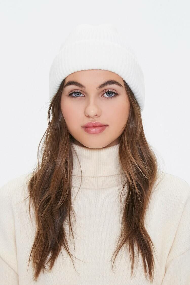 Forever 21 White Ribbed Knit Beanie WOMEN Women ACCESSORIES Womens HATS