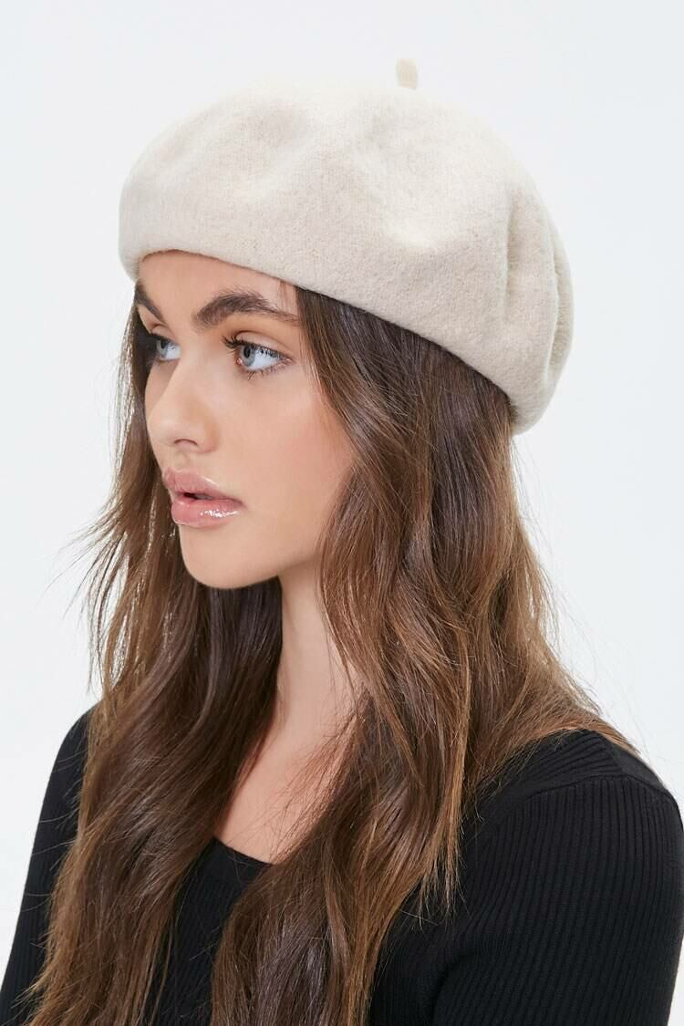 Forever 21 White Round Felt Beret WOMEN Women ACCESSORIES Womens HATS