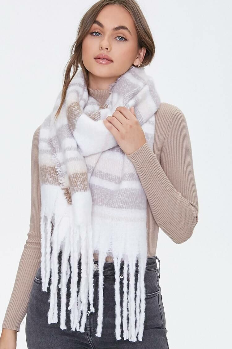 Forever 21 White/Multi Brushed Striped Oblong Scarf WOMEN Women ACCESSORIES Womens SCARFS