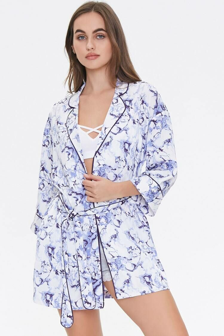 Forever 21 White/Multi Marble Print Robe WOMEN Women FASHION Womens JACKETS