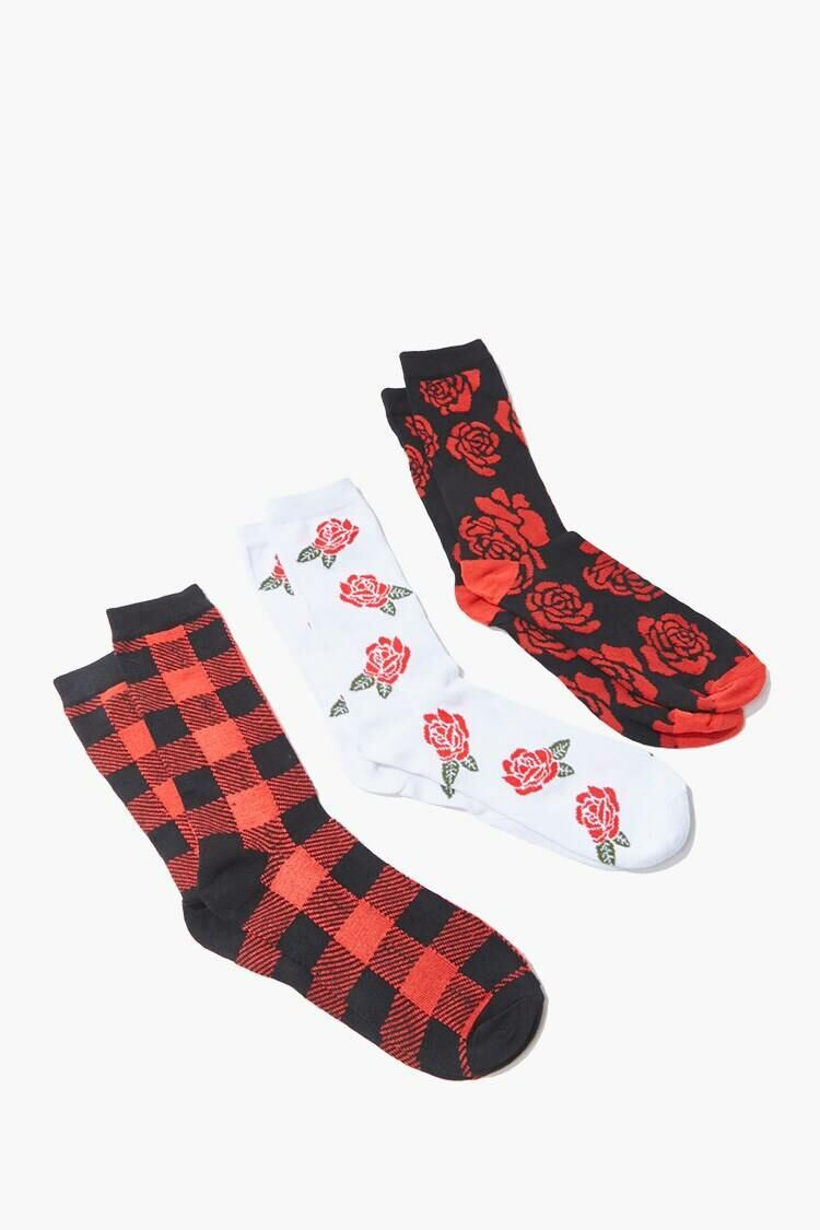 Forever 21 White/Multi Men Floral & Plaid Crew Socks MEN Men ACCESSORIES Mens SOCKS