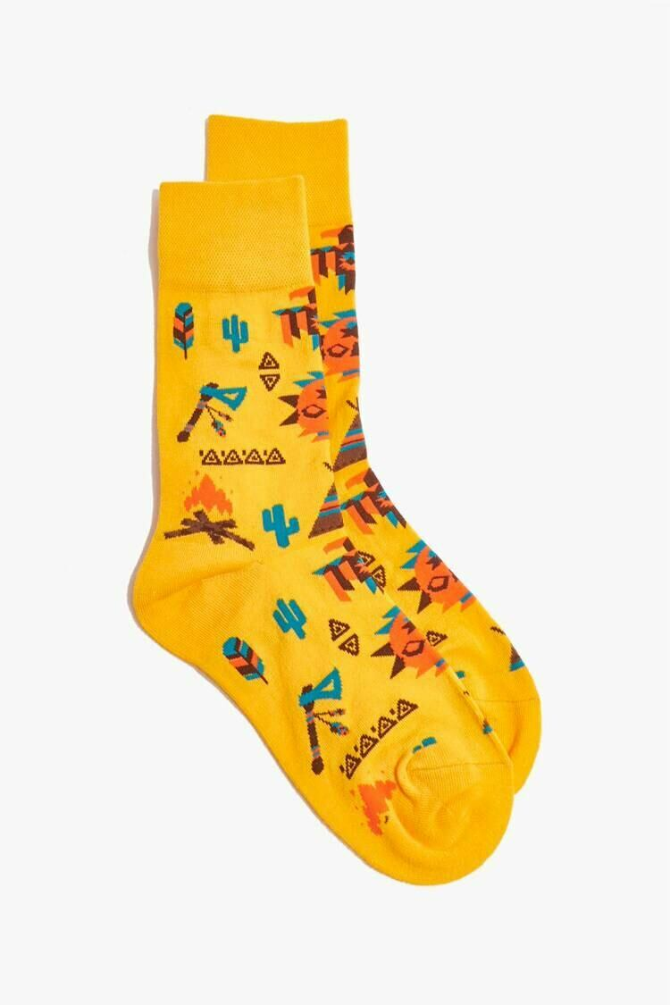 Forever 21 Yellow/Multi Men Cactus Print Crew Socks MEN Men ACCESSORIES Mens SOCKS