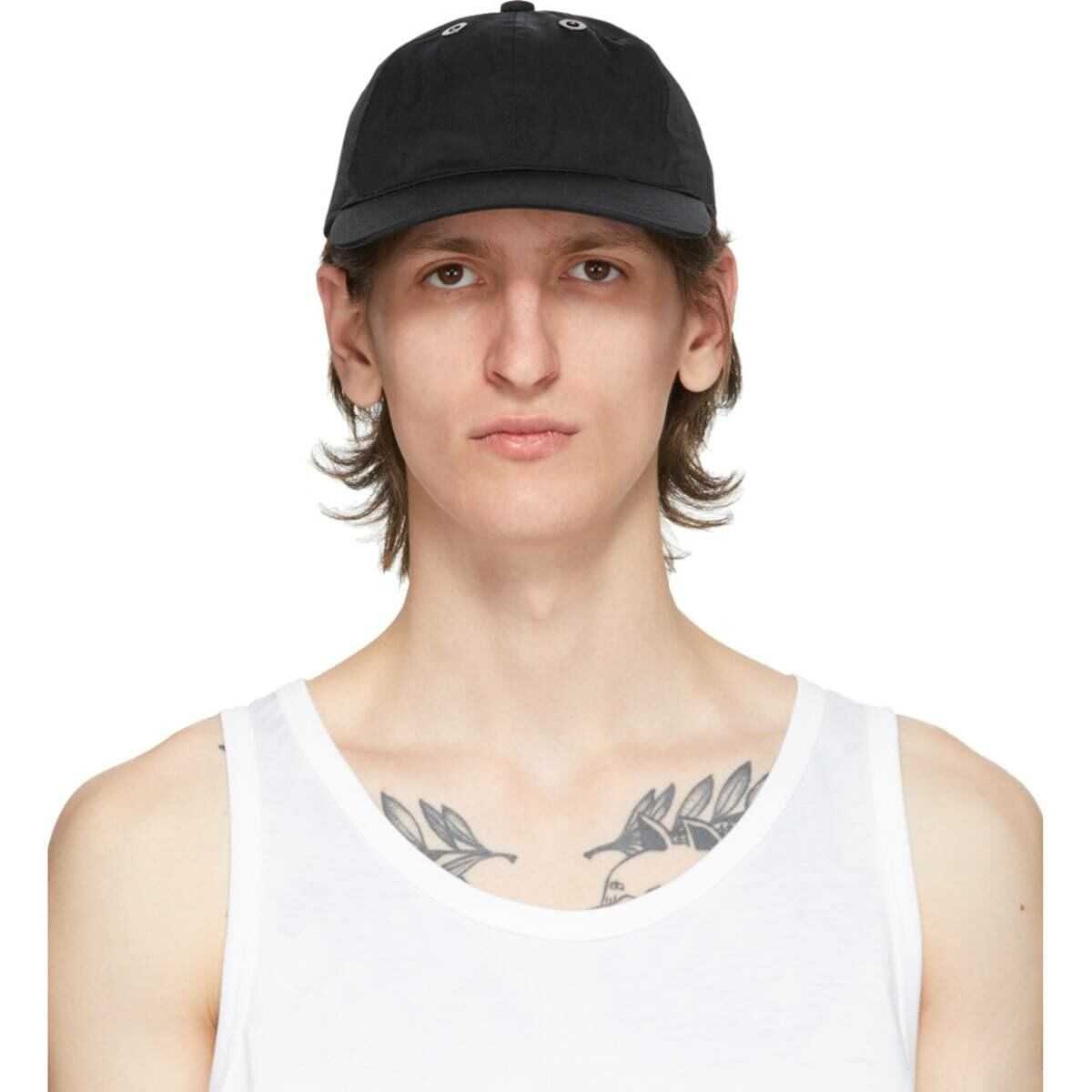 Fumito Ganryu Black Limonta Six Panel Cap Ssense USA MEN Men ACCESSORIES Mens CAPS