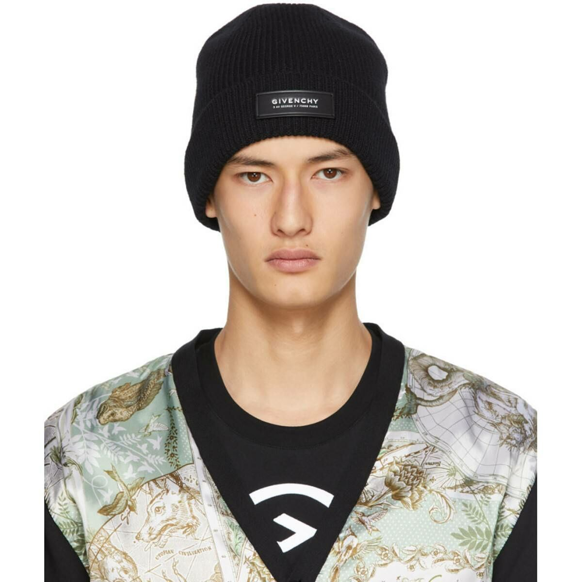 Givenchy Black Patch Beanie Ssense USA MEN Men ACCESSORIES Mens HATS