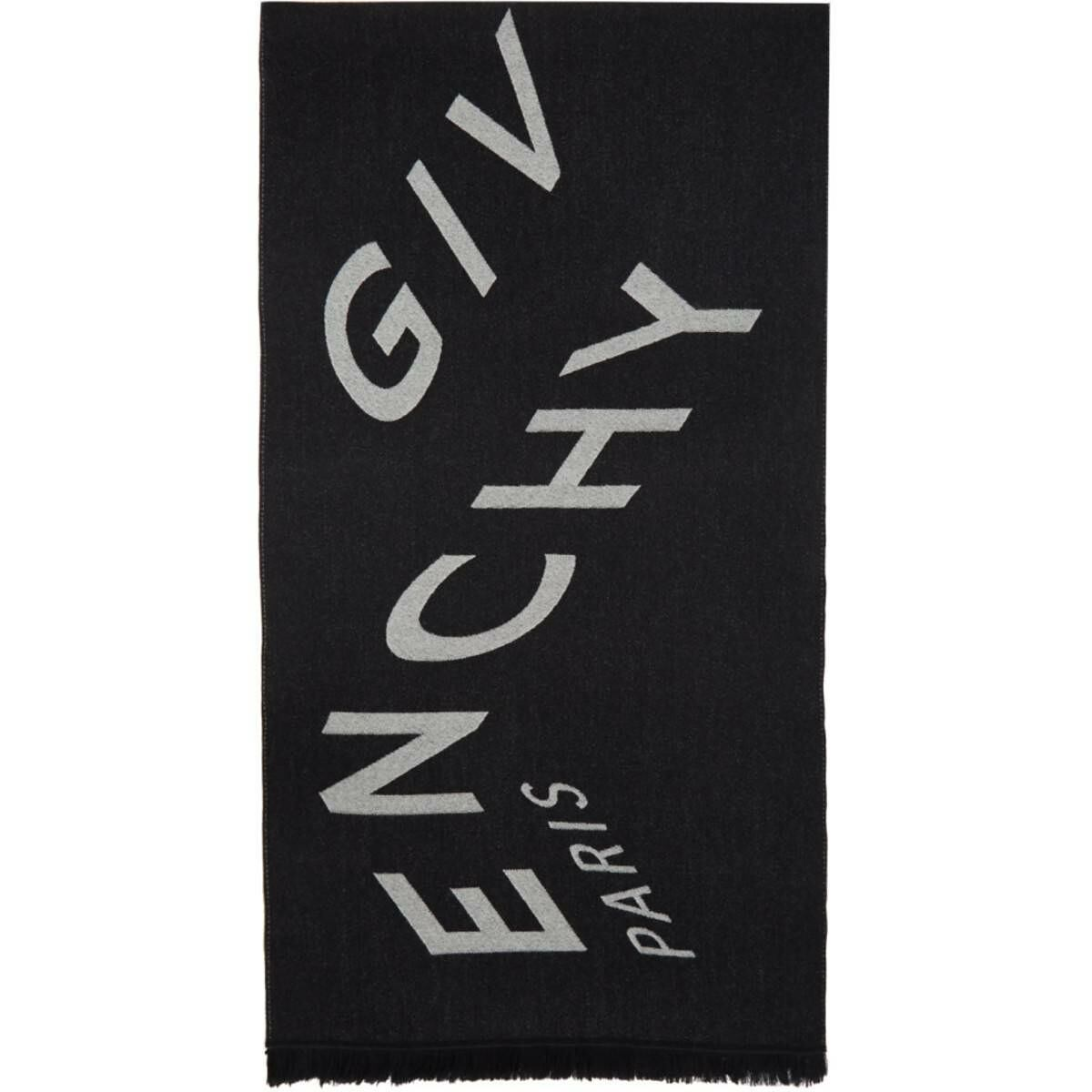Givenchy Black and White Chevron Scarf Ssense USA MEN Men ACCESSORIES Mens SCARFS