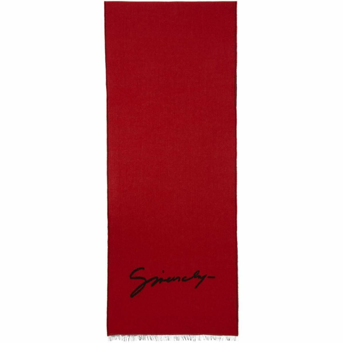 Givenchy Red and Black Signature Intarsia Scarf Ssense USA MEN Men ACCESSORIES Mens SCARFS