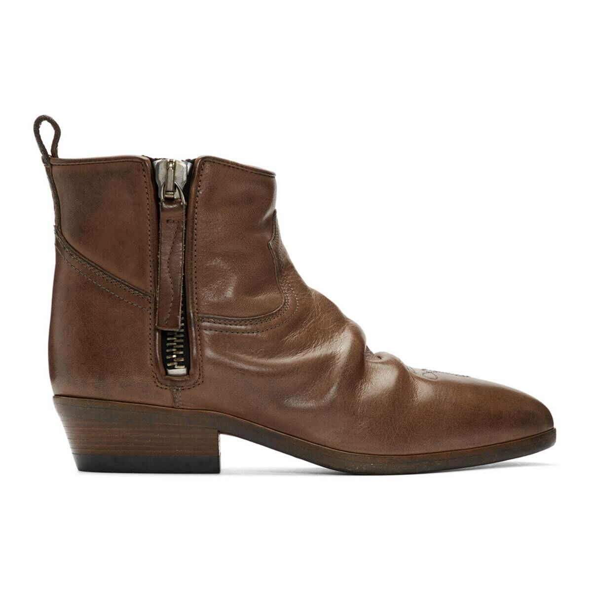 Golden Goose Brown Leather Vian Boots Ssense USA WOMEN Women SHOES Womens ANKLE BOOTS